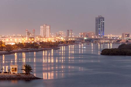 Ras Al Khaimah creek at dusk. Emirate of Ras Al Khaimah, United Arab Emirates