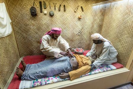 AJMAN, UAE - DEC 17: Scenery of a bedouin hospital in the museum of Ajman. December 17, 2014 in Ajaman, United Arab Emirates Editorial