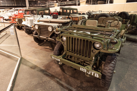 autos: ABU DHABI - DEC 22: Jeep Willys Collection at the Emirates National Auto Museum in Abu Dhabi. December 22, 2014 in Abu Dhabi, UAE