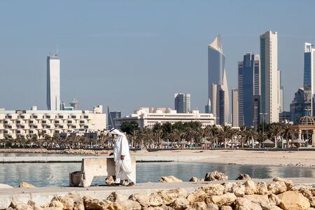 KUWAIT - DEC 7: Skyline of Kuwait City from Shuwaikh beach. December 7, 2014 in Kuwait, Middle East