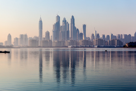 Dubai Marina Skyscrapers in the morning light. Dubai, United Arab Emirates