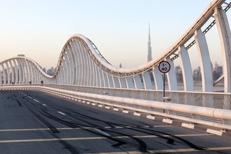 skid: Skid Marks at the Meydan Bridge in Dubai, United Arab Emirates