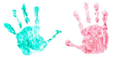 fingerpaint: Colorful handprint of a childs hands isolated on white background