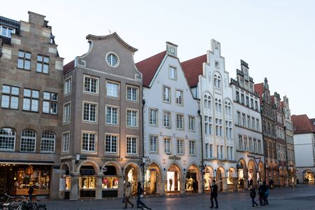 muster: MUNSTER, GERMANY- APR 4: Historic buildings in the old town of Muster. April 4, 2015 in Munster, North Rhine-Westphalia, Germany