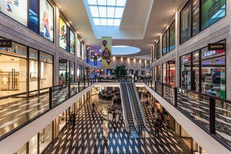 munster: MUNSTER, GERMANY - APR 4: Interior of the Modern Shopping Center Munsterarkaden in Munster. April 4, 2015 in Munster, Germany