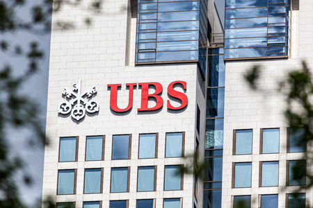 headquarter: FRANKFURT, GERMANY - APR 19: UBS Bank headquarter building in the city of Frankfurt Main. April 19, 2015 in Frankfurt, Germany