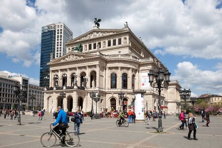 oper: FRANKFURT, GERMANY - APR 19: The Alte Oper - a concert hall and former opera house in Frankfurt am Main. April 19, 2015 in Frankfurt, Germany