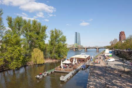 river main: FRANKFURT MAIN, GERMANY - APR 18: Float cafe and restaurant at the river Main in Frankfurt. April 18, 2015 in Frankfurt Main, Germany Editorial