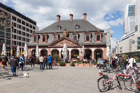 guard house: FRANKFURT MAIN, GERMANY - APR 18: Historic Hauptwache (guard house) building in the city of Frankfurt. April 18, 2015 in Frankfurt Main, Germany Editorial