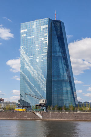 ecb: FRANKFURT MAIN, GERMANY - APR 18: New office building of the European Central Bank (ECB) in Frankfurt. April 18, 2015 in Frankfurt Main, Germany