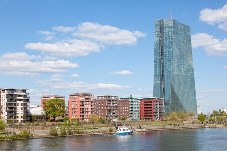 ecb: FRANKFURT MAIN, GERMANY - APR 18: New European Central Bank (ECB) building at the river Main in Frankfurt. April 18, 2015 in Frankfurt Main, Germany Editorial
