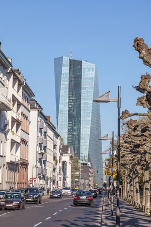 central european: FRANKFURT MAIN, GERMANY - APR 18: City street and the New European Central Bank (ECB) building in Frankfurt. April 18, 2015 in Frankfurt Main, Germany