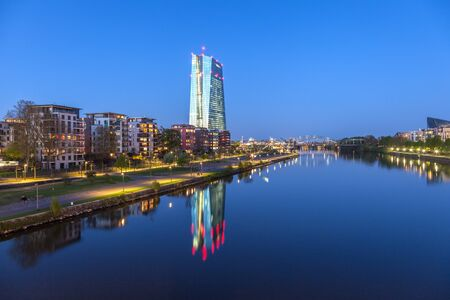 ecb: FRANKFURT MAIN, GERMANY - APR 18: New European Central Bank (ECB) building and river Main in Frankfurt. April 18, 2015 in Frankfurt Main, Germany