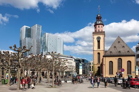 guard house: FRANKFURT, GERMANY - APR 18: Big square at the Hauptwache (guard house) in the city center of Frankfurt Main. April 18, 2015 in Frankfurt, Germany