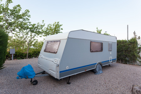 camping site: Caravan on a camping site Stock Photo