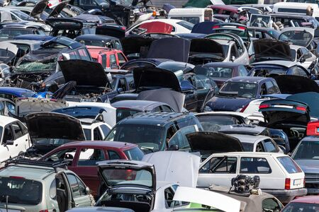 scrapyard: Hundreds of old cars at a scrap yard