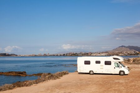 rv: Camper at the mediterranean coast in Spain Stock Photo