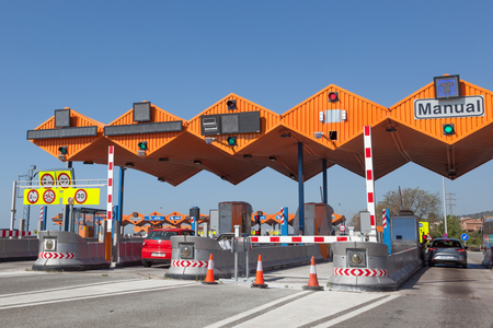 highway 6: GIRONA, SPAIN - MAY 6: Toll gate on the Mediterranean Highway AP-7 in Spain. May 6, 2015 in Girona, Spain Editorial