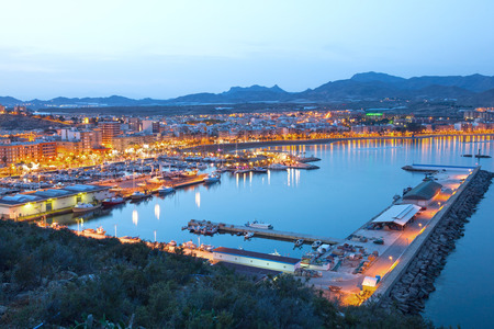 Puerto de Mazarron illuminated at dusk. Province of Murcia, Spain 版權商用圖片