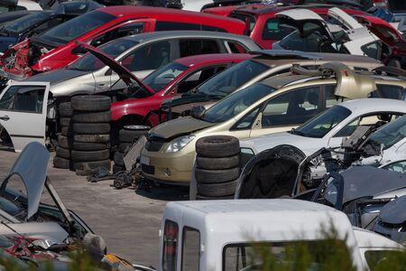 scrapyard: Old cars at the scrap yard
