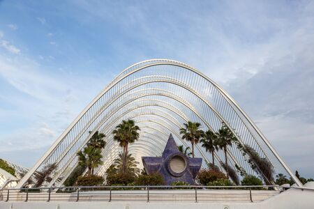 valencia: VALENCIA, SPAIN - MAY 24: LUmbracle - a landscaped walk in the City of Arts and Sciences in Valencia. May 24, 2015 in Valencia, Spain Editorial