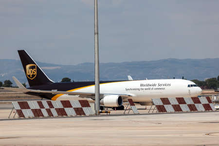 parcel service: VALENCIA, SPAIN - MAY 25: United Parcel Service cargo aircraft at the airport of Valencia. May 25, 2015 in Valencia, Spain