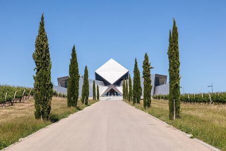 huesca: HUESCA, SPAIN - MAY 26: Futuristic office building of the Sommos Bodega winery in Spain. May 26, 2015 in Huesca, Spain