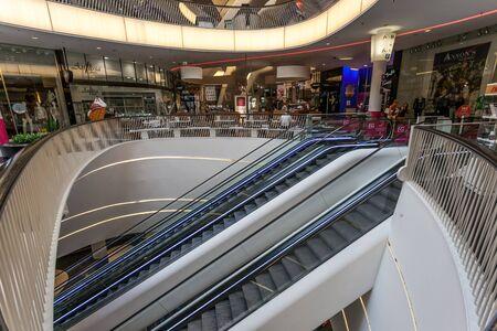 main: FRANKFURT MAIN - JUNE 28: Interior of the modern shopping mall MyZeil in the city off Frankfurt am Main. June 28, 2015 in Frankfurt Main, Germany