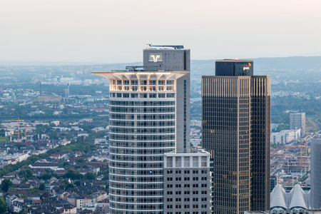 westend: FRANKFURT MAIN - JUNE 27: Westend Tower - the 208 m tall skyscraper is the third tallest building in the city of Frankfurt. June 27, 2015 in Frankfurt Main, Germany Editorial