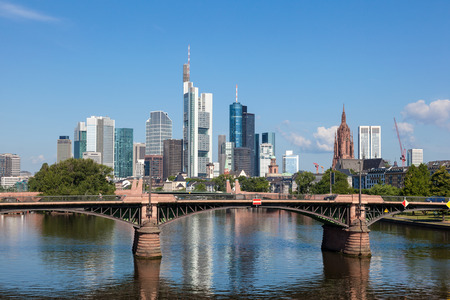 Skyline of Frankfurt Main, Hesse, Germany 免版税图像