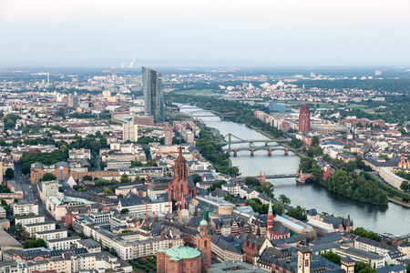 hesse: Aerial view over the city of Frankfurt Main, Hesse, Germany