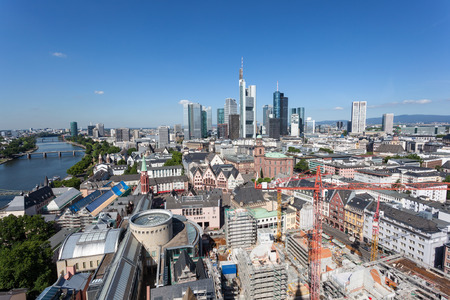hesse: High angle view of the downtown in Frankfurt Main city, Hesse, Germany
