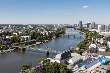 river main: River Main in the city of of Frankfurt Main, Hesse, Germany Stock Photo