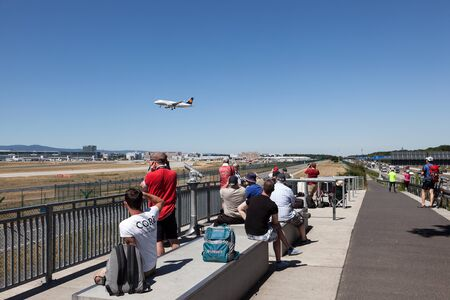 observers: FRANKFURT MAIN - JULY 10: Aircraft spotting point for the tourists at the international airport in Frankfurt. July 10, 2015 in Frankfurt Main, Germany