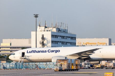 freighter: FRANKFURT, GERMANY - JULY 17: Boeing 777 Freighter of the Lufthansa Cargo Airline at the Frankfurt International Airport. July 17, 2015 in Frankfurt, Germany Editorial