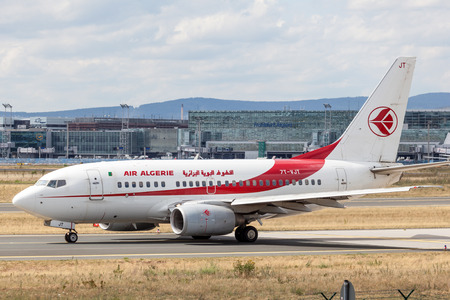 gen: FRANKFURT, GERMANY - JULY 21: Air Algerie Boeing 737 Next Gen at the Frankfurt International Airport (FRA). July 21, 2015 in Frankfurt Main, Germany