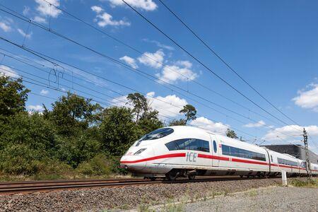 db: FRANKFURT, GERMANY - JULY 26: Intercity Express (ICE)  train of the Deutsche Bahn (DB) at the Frankfurt International Airport (FRA). July 26, 2015 in Frankfurt Main, Germany