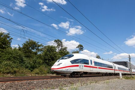 FRANKFURT, GERMANY - JULY 26: Intercity Express (ICE)  train of the Deutsche Bahn (DB) at the Frankfurt International Airport (FRA). July 26, 2015 in Frankfurt Main, Germany