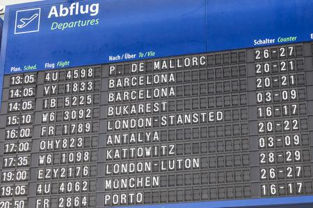 departures board: DORTMUND, GERMANY - AUG 1: Departures board at the Dortmund International Airport. August 1, 2015 in Dortmund, North Rhine-Westphalia, Germany