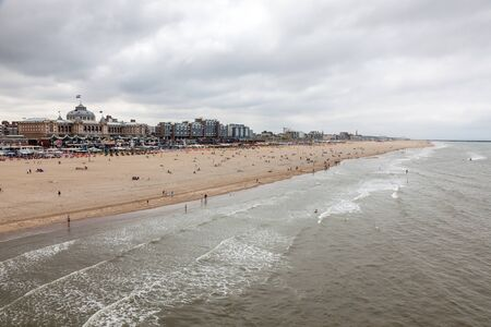 scheveningen: SCHEVENINGEN, NETHERLANDS - AUG 10: View over the beautiful North Sea beach in Scheveningen. August 10, 2015 in Scheveningen, The Netherlands Editorial