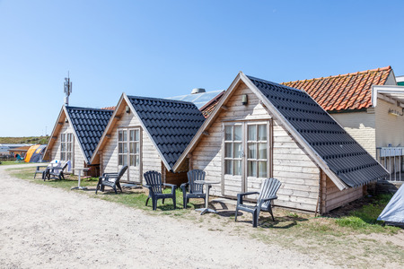 Wooden cabins on a campsite in Holland Editorial