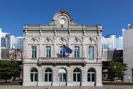 leopold: BRUSSELS, BELGIUM - AUG 21: European Parliament Information office building at the Espace Leopold (Leopold Square). August 21, 2015 in Brussels, Belgium Editorial