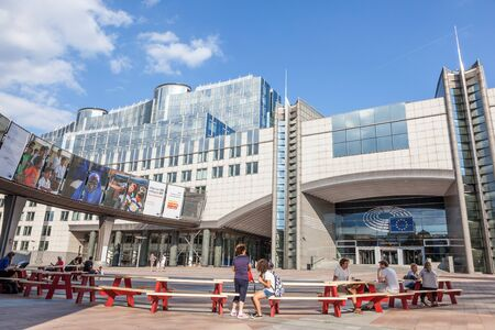 leopold: BRUSSELS, BELGIUM - AUG 21: European Parliament office buildings at the Espace Leopold (Leopold Square). August 21, 2015 in Brussels, Belgium Editorial
