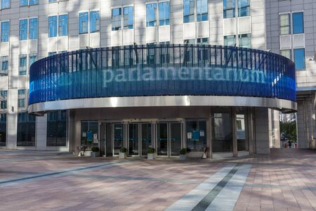 leopold: BRUSSELS, BELGIUM - AUG 21: European Parliament visitors center Parlamentarium at the Espace Leopold (Leopold Square). August 21, 2015 in Brussels, Belgium