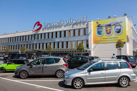 autos: BRUSSELS, BELGIUM - AUG 22: Parking lot at the Brussels International Airport. August 22, 2015 in Brussels, Belgium
