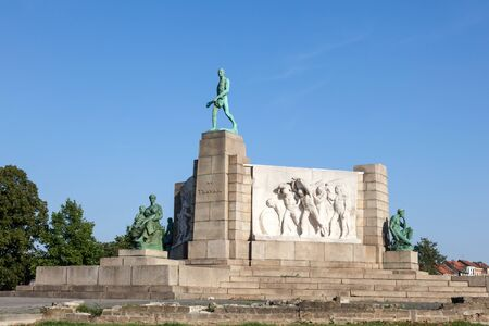 constantin: BRUSSELS, BELGIUM - AUG 22: Monument to Labour (Le Monument au Travai) of the Brussels sculptor Constantin Meunier. August 22, 2015 in Brussels, Belgium Editorial