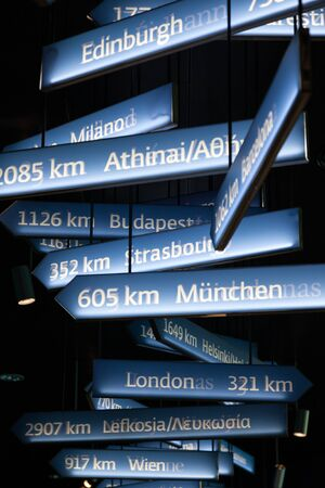 distances: Signs with european cities and distances from Brussels, Belgium Stock Photo