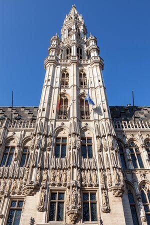 belfry: Belfry of the ancient town hall in Brussels, Belgium