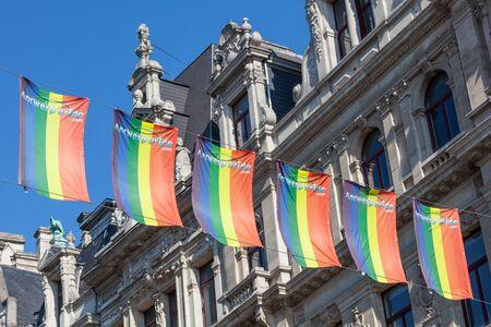 antwerp: ANTWERP, BELGIUM - AUG 23: Gay pride rainbow flags in the city of Antwerp. August 23, 2015 in Antwerp, Belgium