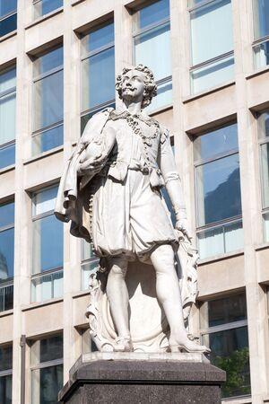 antwerp: ANTWERP, BELGIUM - AUG 23: Statue of the famous  flemish baroque artist Anthony van Dyck in the city of Antwerp. August 23, 2015 in Antwerp, Belgium